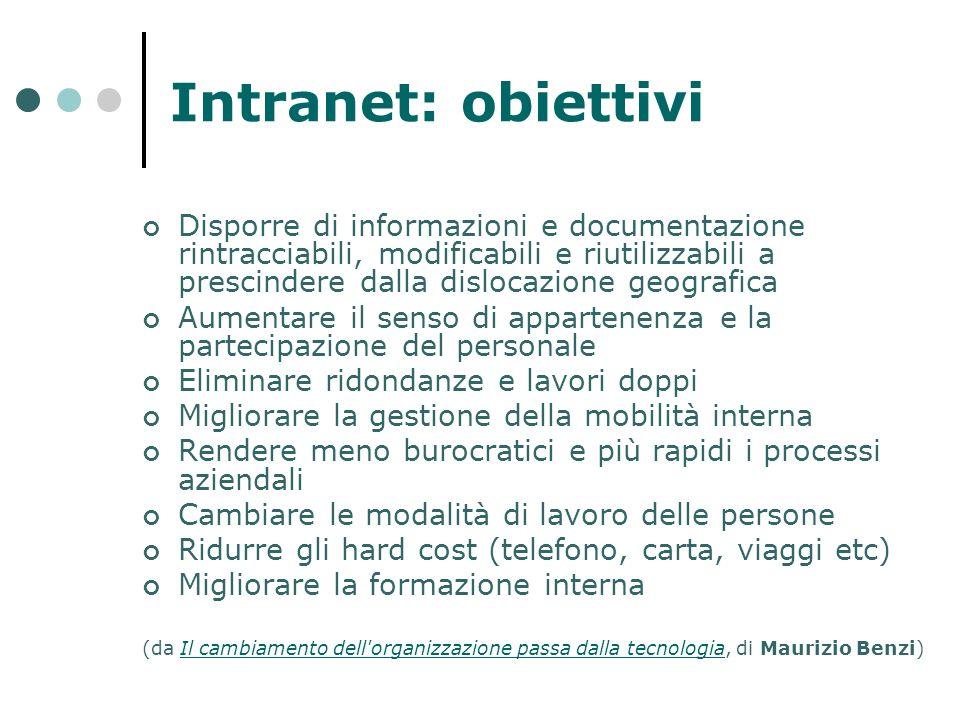 Intranet: obiettivi Disporre di informazioni e documentazione rintracciabili, modificabili e riutilizzabili a prescindere dalla dislocazione geografic