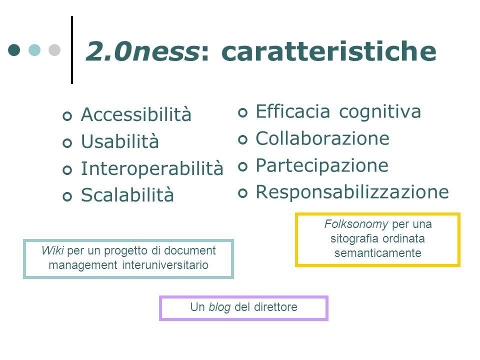 2.0ness: caratteristiche Accessibilità Usabilità Interoperabilità Scalabilità Efficacia cognitiva Collaborazione Partecipazione Responsabilizzazione W