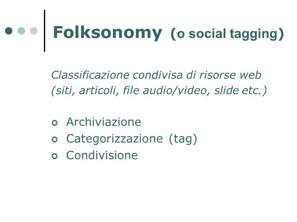 Folksonomy ( o social tagging ) Classificazione condivisa di risorse web (siti, articoli, file audio/video, slide etc.) Archiviazione Categorizzazione