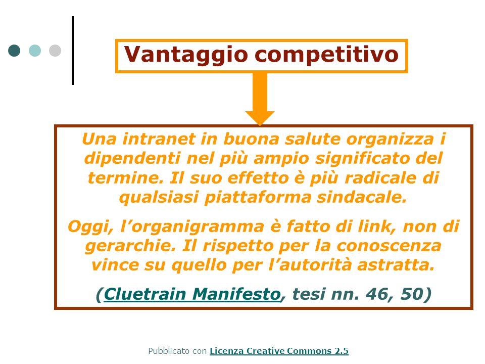 Vantaggio competitivo Una intranet in buona salute organizza i dipendenti nel più ampio significato del termine. Il suo effetto è più radicale di qual