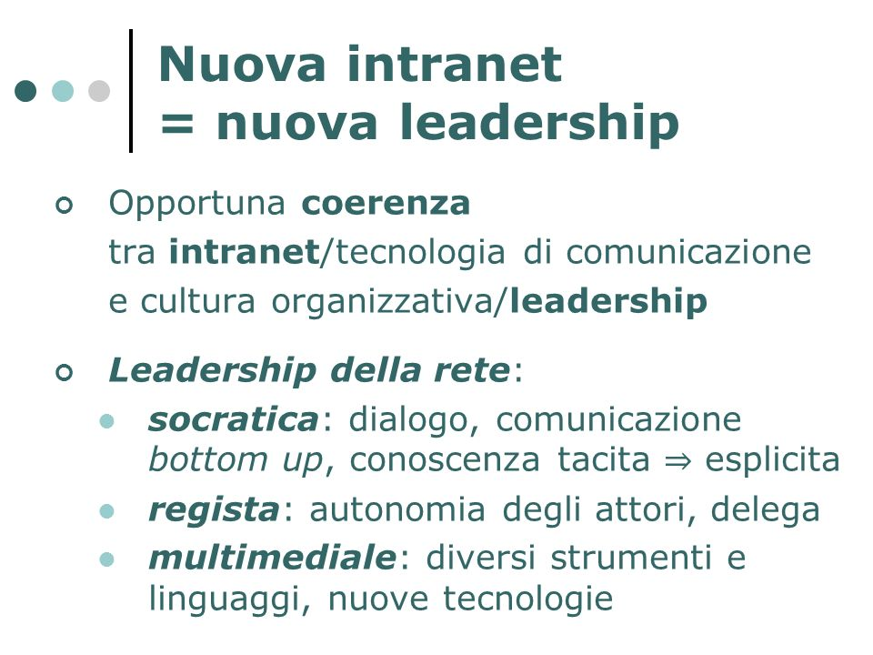 Nuova intranet = nuova leadership Opportuna coerenza tra intranet/tecnologia di comunicazione e cultura organizzativa/leadership Leadership della rete