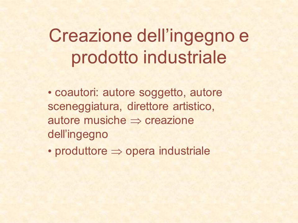 Creazione dellingegno e prodotto industriale coautori: autore soggetto, autore sceneggiatura, direttore artistico, autore musiche creazione dellingegn