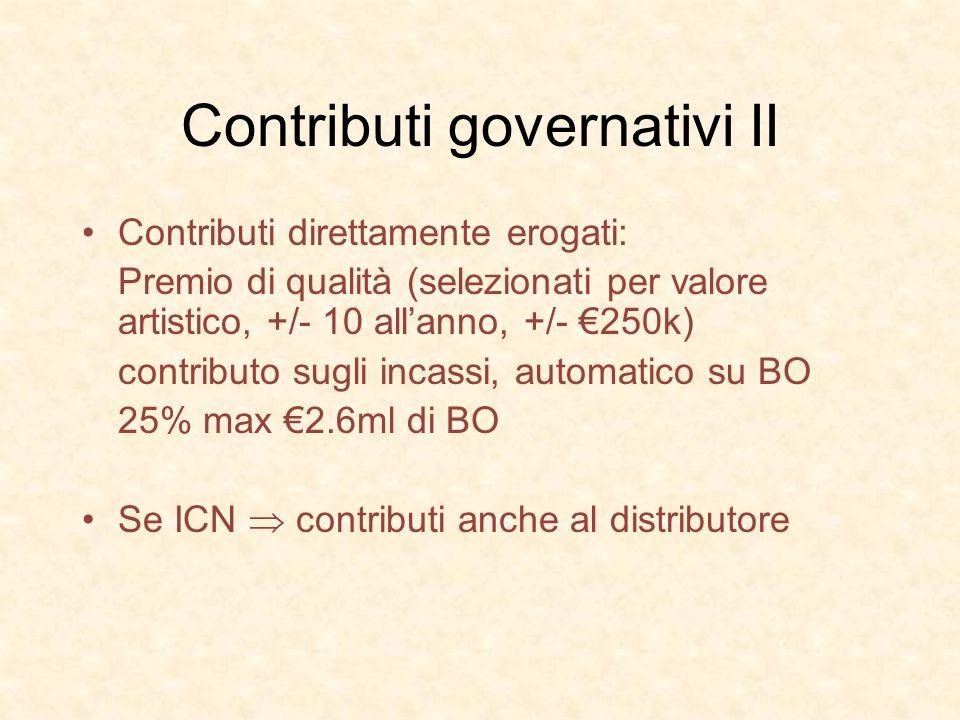 Contributi governativi II Contributi direttamente erogati: Premio di qualità (selezionati per valore artistico, +/- 10 allanno, +/- 250k) contributo s
