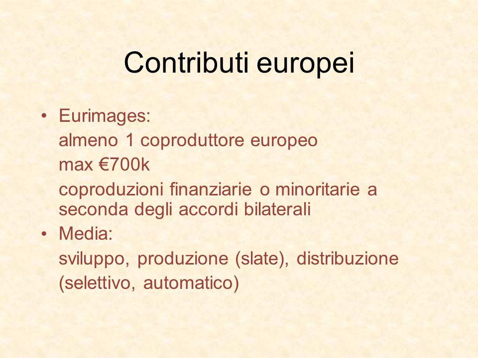Contributi europei Eurimages: almeno 1 coproduttore europeo max 700k coproduzioni finanziarie o minoritarie a seconda degli accordi bilaterali Media: sviluppo, produzione (slate), distribuzione (selettivo, automatico)