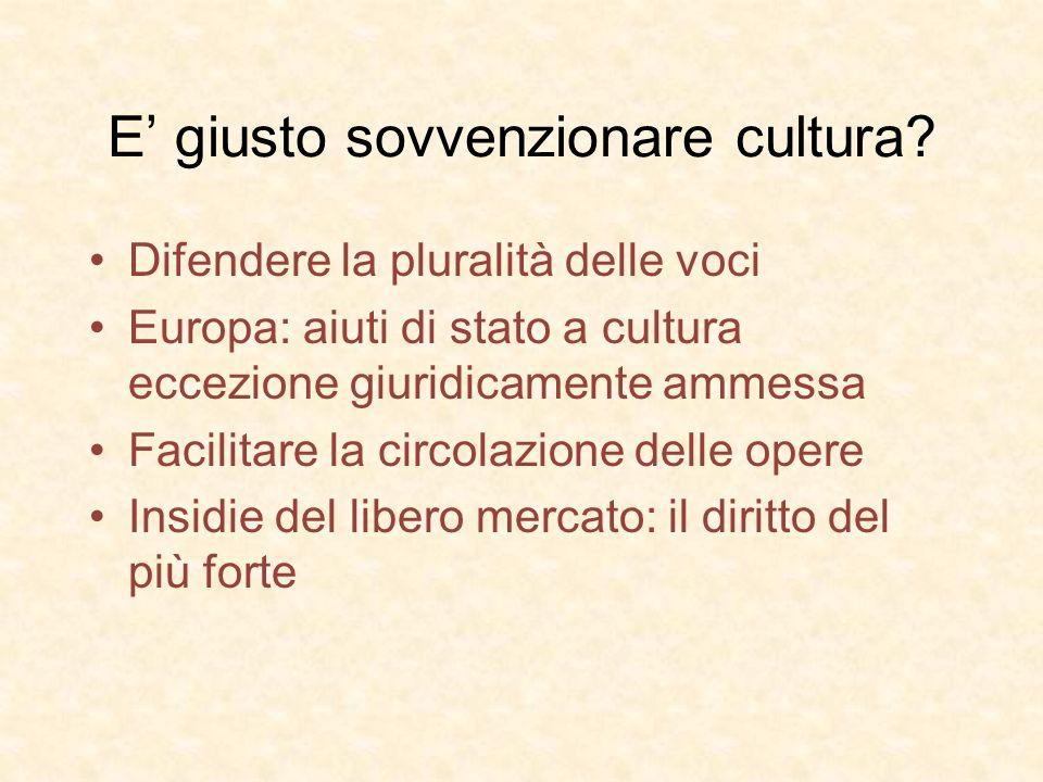 E giusto sovvenzionare cultura? Difendere la pluralità delle voci Europa: aiuti di stato a cultura eccezione giuridicamente ammessa Facilitare la circ