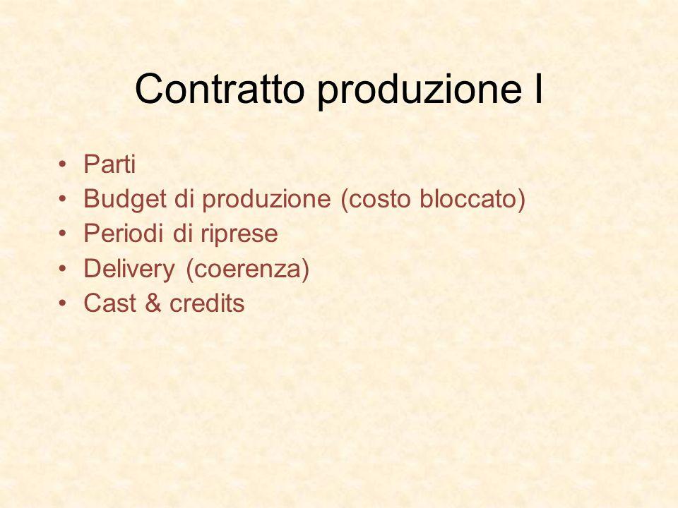 Contratto produzione I Parti Budget di produzione (costo bloccato) Periodi di riprese Delivery (coerenza) Cast & credits