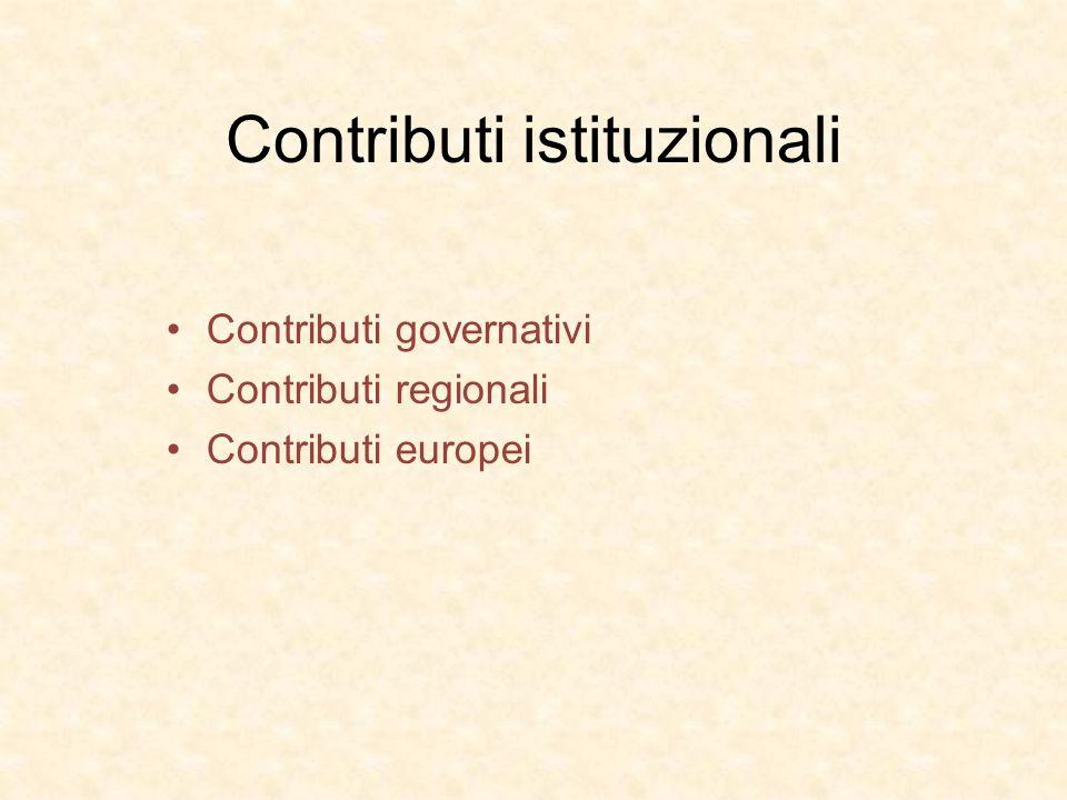 Contributi istituzionali Contributi governativi Contributi regionali Contributi europei