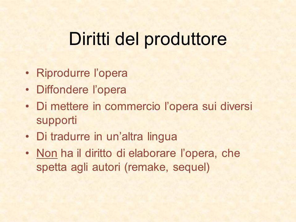 Diritti del produttore Riprodurre lopera Diffondere lopera Di mettere in commercio lopera sui diversi supporti Di tradurre in unaltra lingua Non ha il