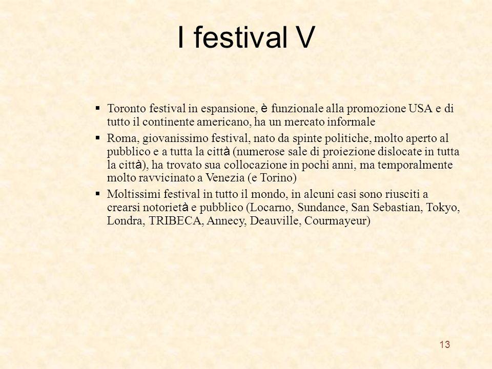 I festival V 13 Toronto festival in espansione, è funzionale alla promozione USA e di tutto il continente americano, ha un mercato informale Roma, giovanissimo festival, nato da spinte politiche, molto aperto al pubblico e a tutta la citt à (numerose sale di proiezione dislocate in tutta la citt à ), ha trovato sua collocazione in pochi anni, ma temporalmente molto ravvicinato a Venezia (e Torino) Moltissimi festival in tutto il mondo, in alcuni casi sono riusciti a crearsi notoriet à e pubblico (Locarno, Sundance, San Sebastian, Tokyo, Londra, TRIBECA, Annecy, Deauville, Courmayeur)