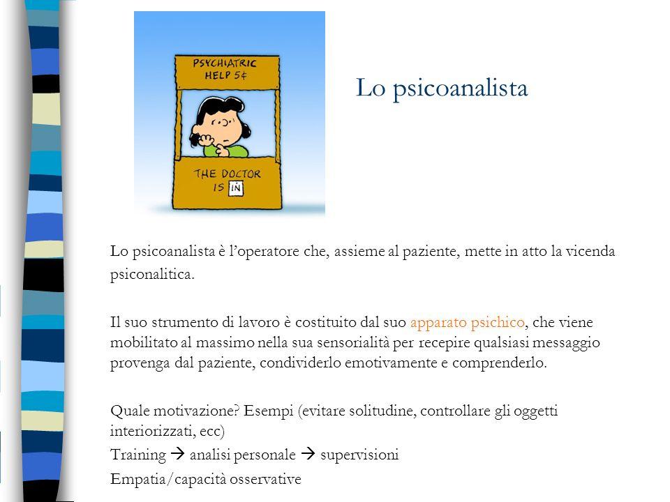 Lo psicoanalista Lo psicoanalista è loperatore che, assieme al paziente, mette in atto la vicenda psiconalitica. Il suo strumento di lavoro è costitui