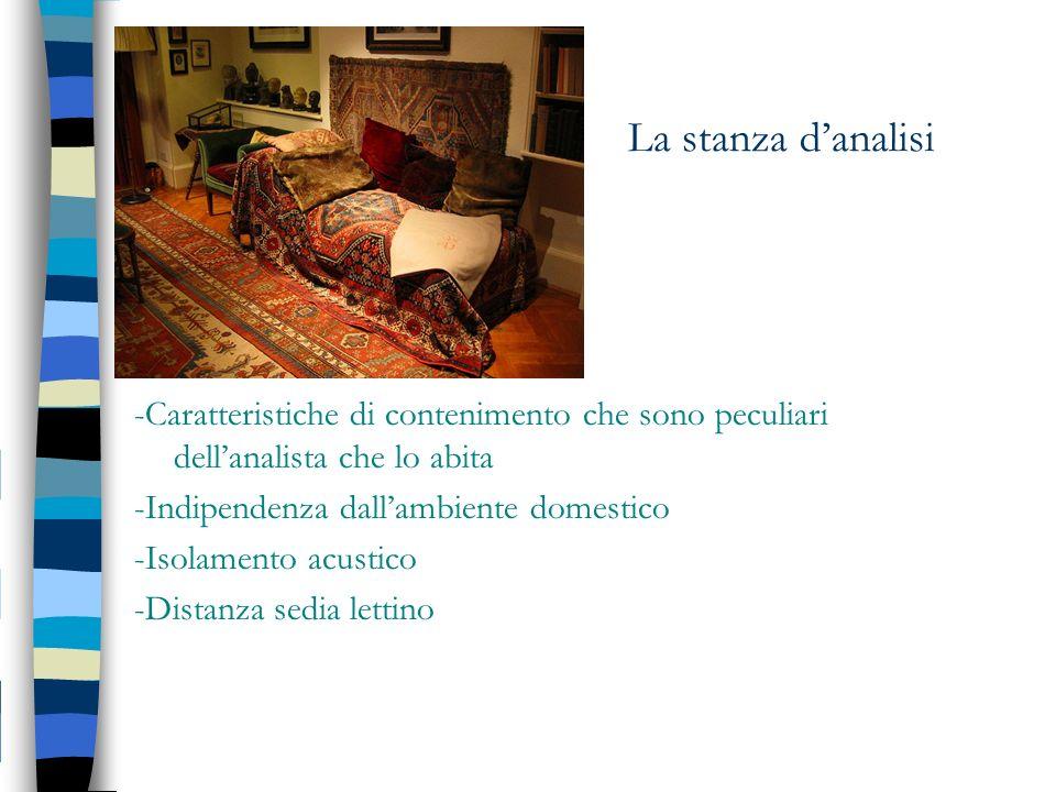 La stanza danalisi -Caratteristiche di contenimento che sono peculiari dellanalista che lo abita -Indipendenza dallambiente domestico -Isolamento acus
