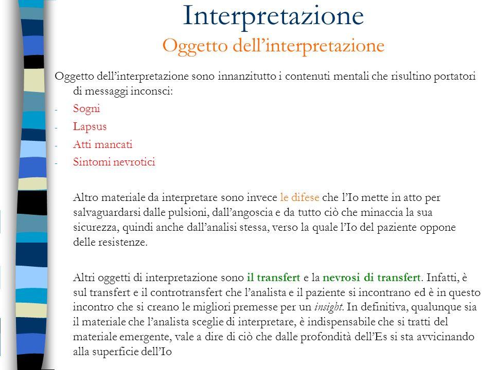 Interpretazione Oggetto dellinterpretazione Oggetto dellinterpretazione sono innanzitutto i contenuti mentali che risultino portatori di messaggi inco