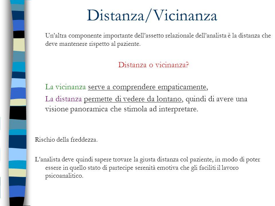 Distanza/Vicinanza Unaltra componente importante dellassetto relazionale dellanalista è la distanza che deve mantenere rispetto al paziente. Distanza