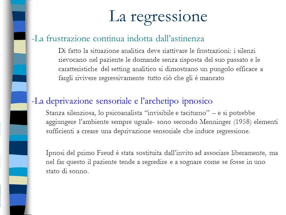 La regressione -La frustrazione continua indotta dallastinenza Di fatto la situazione analitica deve riattivare le frustrazioni: i silenzi rievocano n