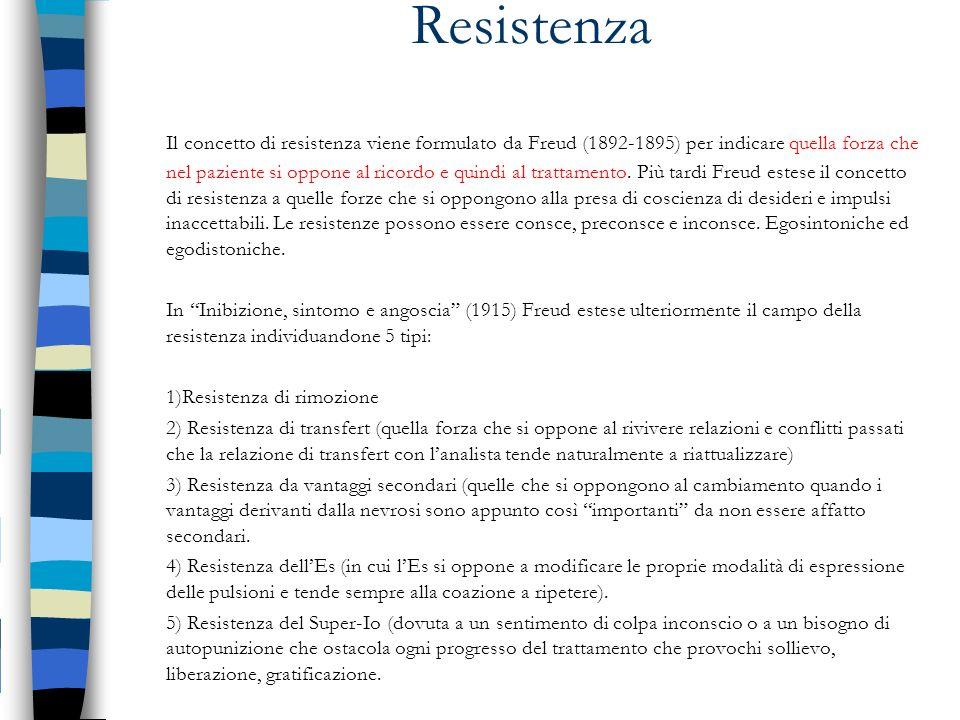 Resistenza Il concetto di resistenza viene formulato da Freud (1892-1895) per indicare quella forza che nel paziente si oppone al ricordo e quindi al