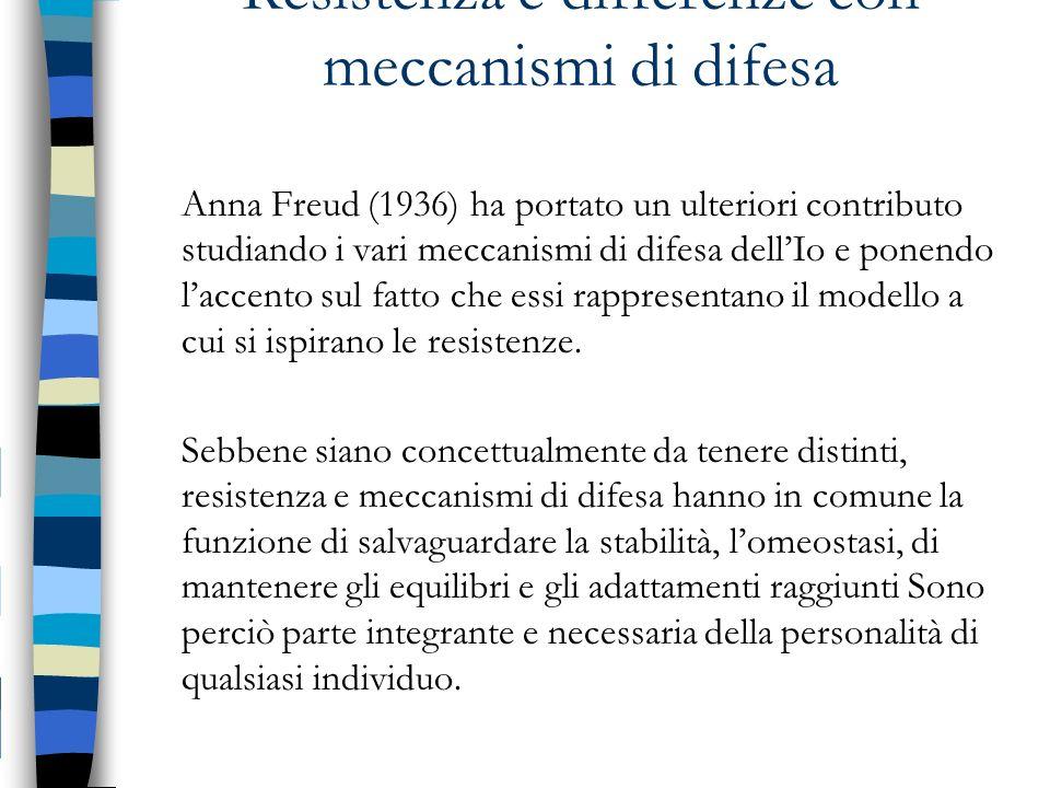 Resistenza e differenze con meccanismi di difesa Anna Freud (1936) ha portato un ulteriori contributo studiando i vari meccanismi di difesa dellIo e p