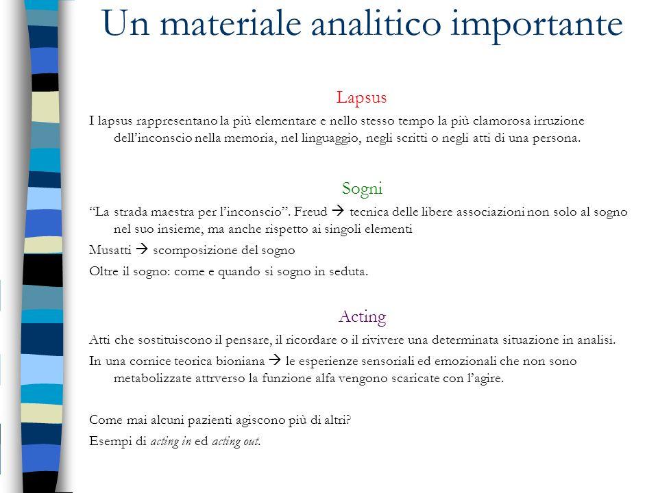 Un materiale analitico importante Lapsus I lapsus rappresentano la più elementare e nello stesso tempo la più clamorosa irruzione dellinconscio nella