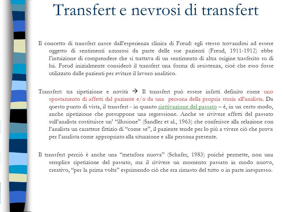 Transfert e nevrosi di transfert Il concetto di transfert nasce dallesperienza clinica di Freud: egli stesso trovandosi ad essere oggetto di sentiment
