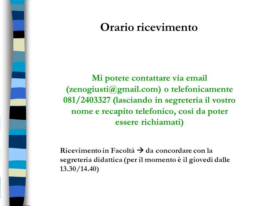 Orario ricevimento Mi potete contattare via email (zenogiusti@gmail.com) o telefonicamente 081/2403327 (lasciando in segreteria il vostro nome e recap