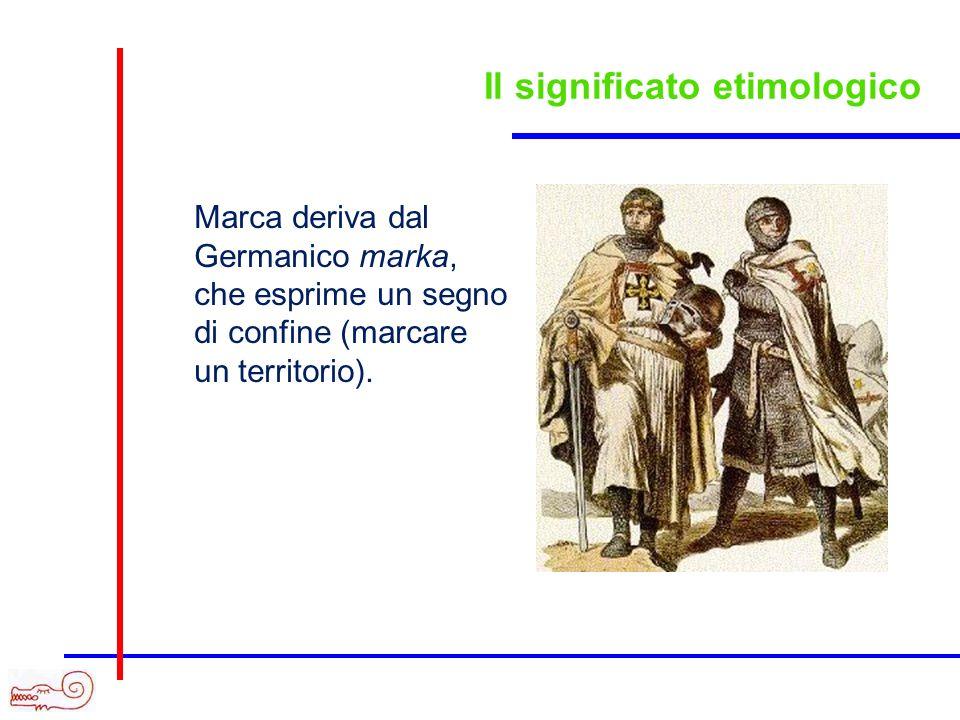 Marca deriva dal Germanico marka, che esprime un segno di confine (marcare un territorio).