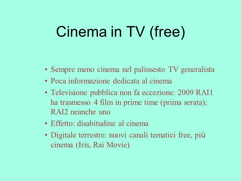 Cinema in TV (free) Sempre meno cinema nel palinsesto TV generalista Poca informazione dedicata al cinema Televisione pubblica non fa eccezione: 2009