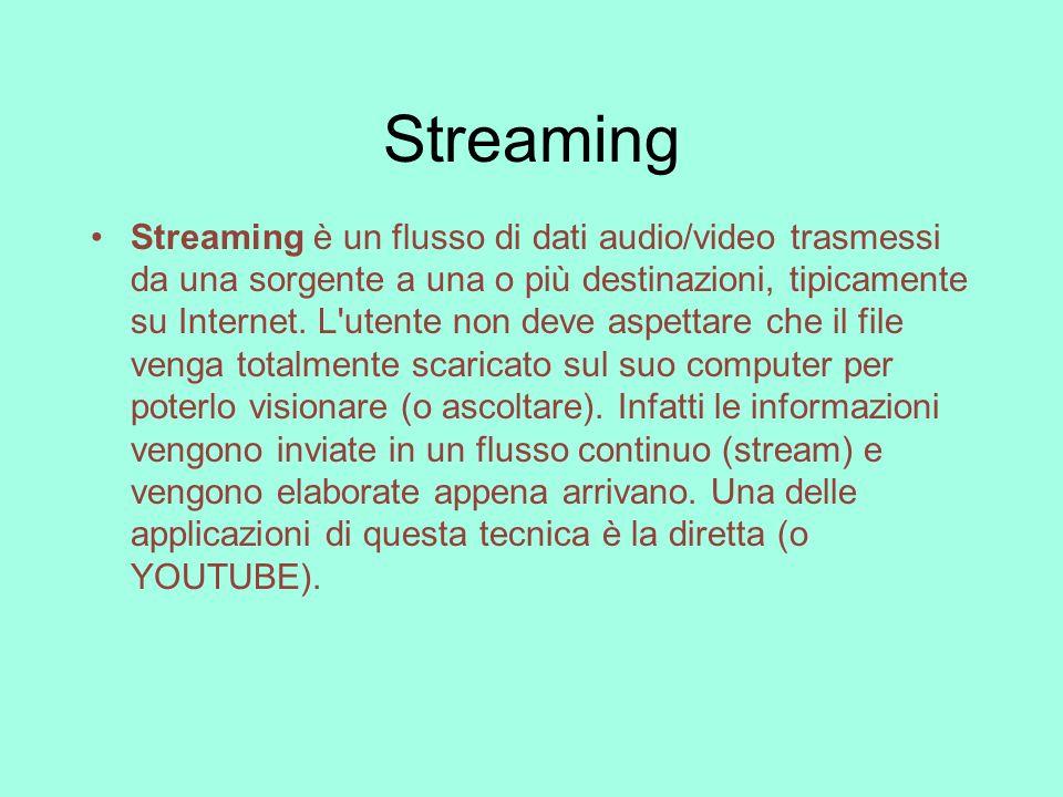 Streaming Streaming è un flusso di dati audio/video trasmessi da una sorgente a una o più destinazioni, tipicamente su Internet. L'utente non deve asp