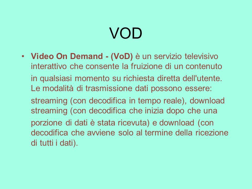 VOD Video On Demand - (VoD) è un servizio televisivo interattivo che consente la fruizione di un contenuto in qualsiasi momento su richiesta diretta d