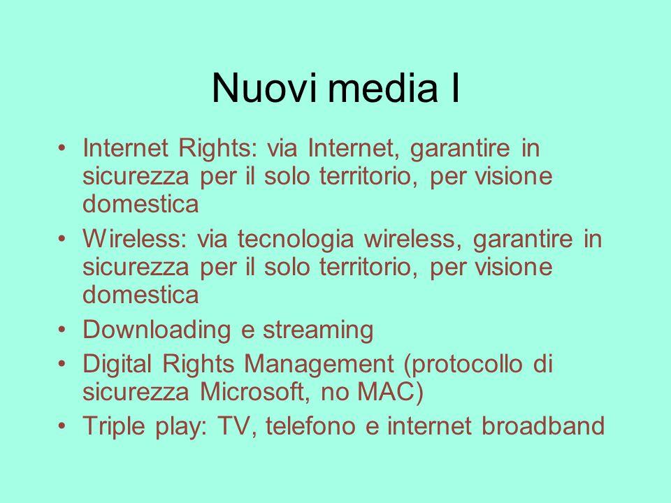 Nuovi media I Internet Rights: via Internet, garantire in sicurezza per il solo territorio, per visione domestica Wireless: via tecnologia wireless, g