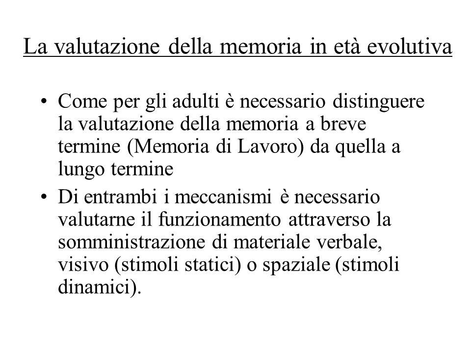 La valutazione della memoria in età evolutiva Come per gli adulti è necessario distinguere la valutazione della memoria a breve termine (Memoria di La