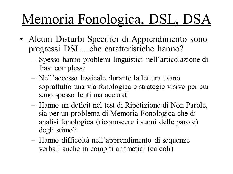 Memoria Fonologica, DSL, DSA Alcuni Disturbi Specifici di Apprendimento sono pregressi DSL…che caratteristiche hanno? –Spesso hanno problemi linguisti