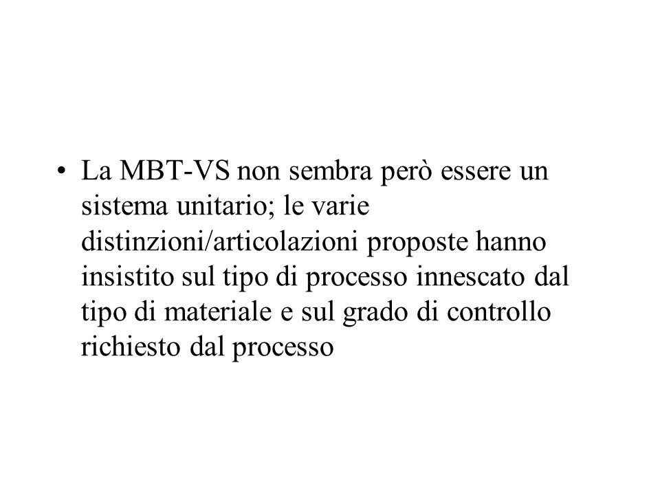La MBT-VS non sembra però essere un sistema unitario; le varie distinzioni/articolazioni proposte hanno insistito sul tipo di processo innescato dal t