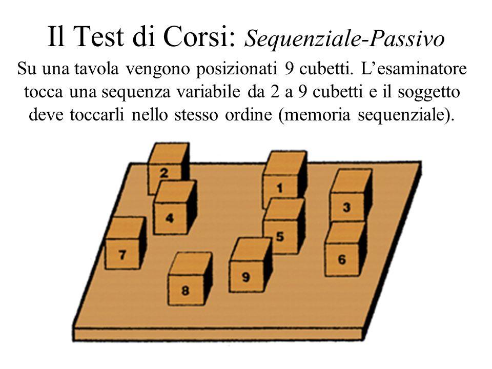 Il Test di Corsi: Sequenziale-Passivo Su una tavola vengono posizionati 9 cubetti. Lesaminatore tocca una sequenza variabile da 2 a 9 cubetti e il sog