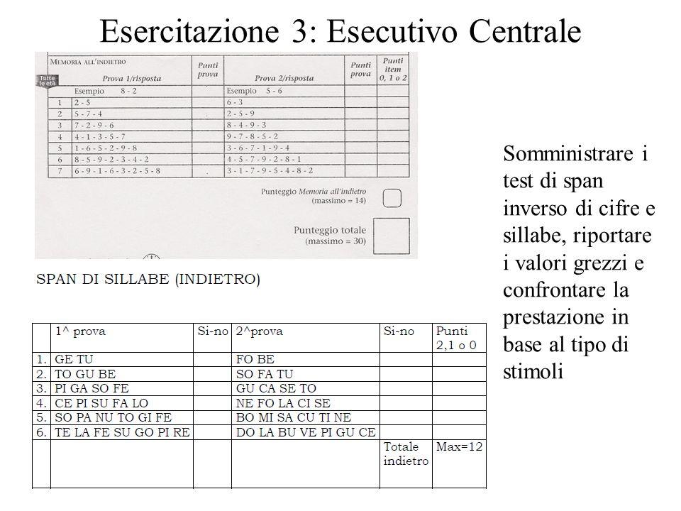 Esercitazione 3: Esecutivo Centrale Somministrare i test di span inverso di cifre e sillabe, riportare i valori grezzi e confrontare la prestazione in
