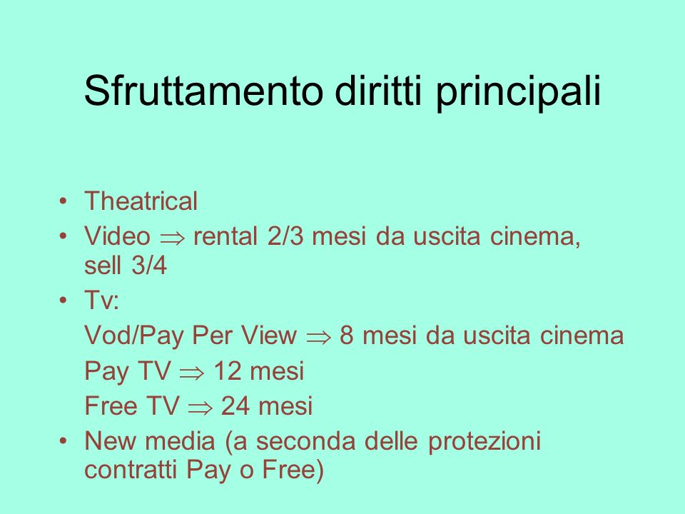 Sfruttamento diritti principali Theatrical Video rental 2/3 mesi da uscita cinema, sell 3/4 Tv: Vod/Pay Per View 8 mesi da uscita cinema Pay TV 12 mes