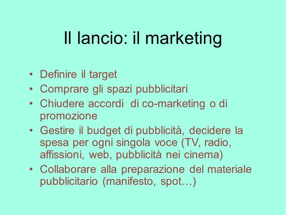 Il lancio: il marketing Definire il target Comprare gli spazi pubblicitari Chiudere accordi di co-marketing o di promozione Gestire il budget di pubbl
