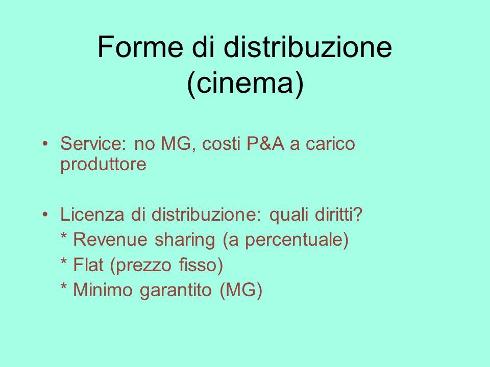 Forme di distribuzione (cinema) Service: no MG, costi P&A a carico produttore Licenza di distribuzione: quali diritti? * Revenue sharing (a percentual
