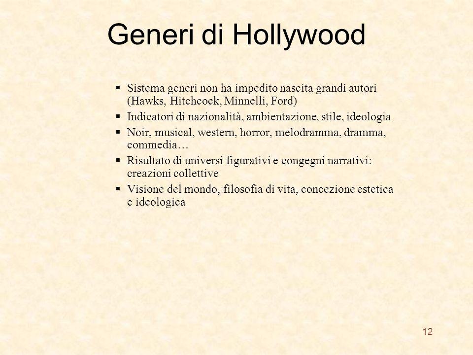 Generi di Hollywood Sistema generi non ha impedito nascita grandi autori (Hawks, Hitchcock, Minnelli, Ford) Indicatori di nazionalità, ambientazione,