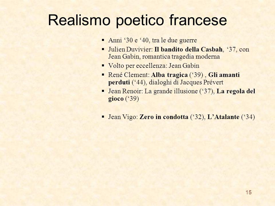 Realismo poetico francese Anni 30 e 40, tra le due guerre Julien Duvivier: Il bandito della Casbah, 37, con Jean Gabin, romantica tragedia moderna Vol