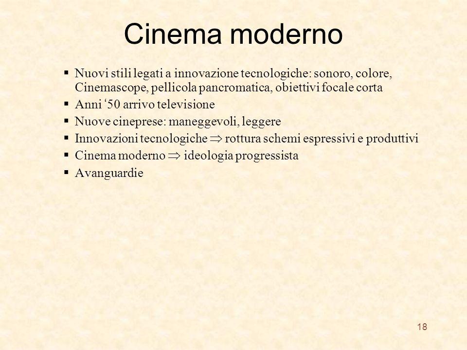 Cinema moderno Nuovi stili legati a innovazione tecnologiche: sonoro, colore, Cinemascope, pellicola pancromatica, obiettivi focale corta Anni 50 arri