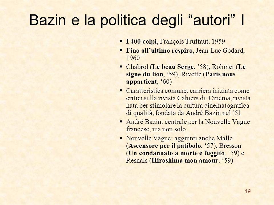 Bazin e la politica degli autori I I 400 colpi, François Truffaut, 1959 Fino allultimo respiro, Jean-Luc Godard, 1960 Chabrol (Le beau Serge, 58), Roh