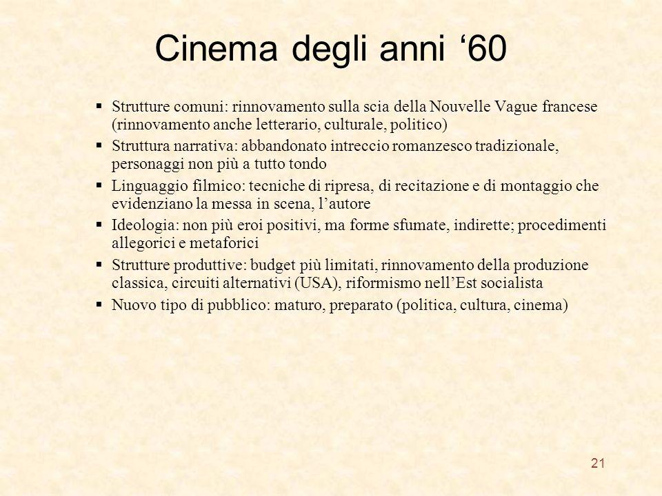 Cinema degli anni 60 Strutture comuni: rinnovamento sulla scia della Nouvelle Vague francese (rinnovamento anche letterario, culturale, politico) Stru