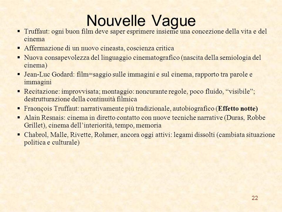 Nouvelle Vague Truffaut: ogni buon film deve saper esprimere insieme una concezione della vita e del cinema Affermazione di un nuovo cineasta, coscien