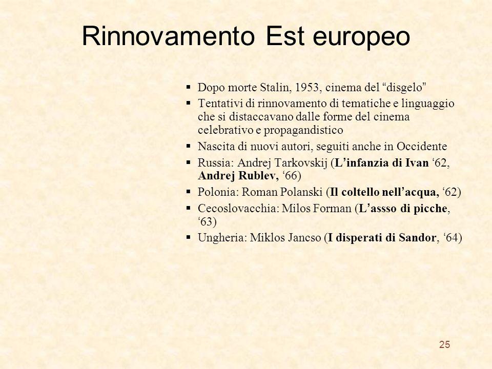 Rinnovamento Est europeo Dopo morte Stalin, 1953, cinema del disgelo Tentativi di rinnovamento di tematiche e linguaggio che si distaccavano dalle forme del cinema celebrativo e propagandistico Nascita di nuovi autori, seguiti anche in Occidente Russia: Andrej Tarkovskij (L infanzia di Ivan 62, Andrej Rublev, 66) Polonia: Roman Polanski (Il coltello nell acqua, 62) Cecoslovacchia: Milos Forman (L assso di picche, 63) Ungheria: Miklos Jancso (I disperati di Sandor, 64) 25