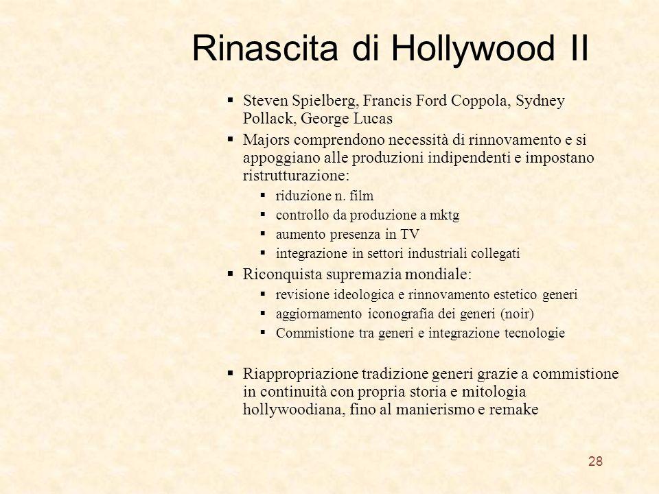 Rinascita di Hollywood II Steven Spielberg, Francis Ford Coppola, Sydney Pollack, George Lucas Majors comprendono necessità di rinnovamento e si appoggiano alle produzioni indipendenti e impostano ristrutturazione: riduzione n.
