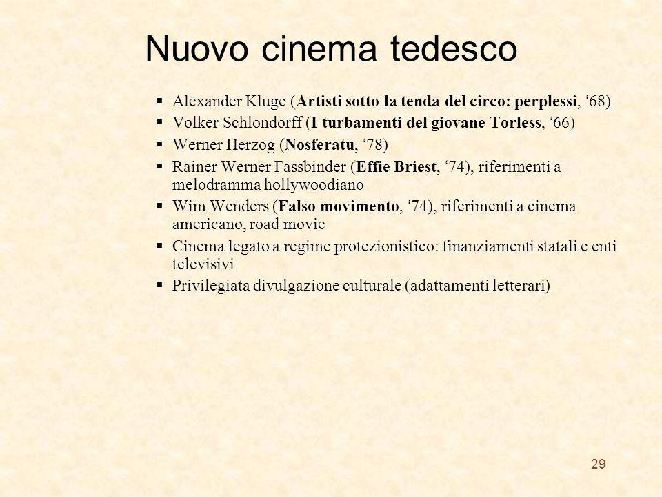 Nuovo cinema tedesco Alexander Kluge (Artisti sotto la tenda del circo: perplessi, 68) Volker Schlondorff (I turbamenti del giovane Torless, 66) Werner Herzog (Nosferatu, 78) Rainer Werner Fassbinder (Effie Briest, 74), riferimenti a melodramma hollywoodiano Wim Wenders (Falso movimento, 74), riferimenti a cinema americano, road movie Cinema legato a regime protezionistico: finanziamenti statali e enti televisivi Privilegiata divulgazione culturale (adattamenti letterari) 29