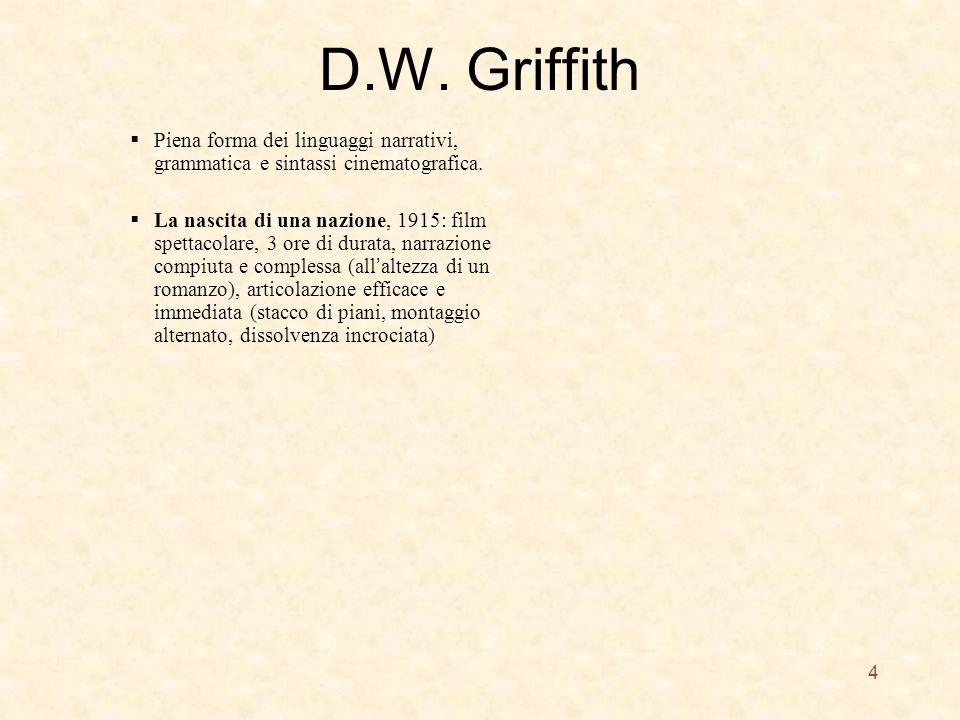 D.W. Griffith Piena forma dei linguaggi narrativi, grammatica e sintassi cinematografica. La nascita di una nazione, 1915: film spettacolare, 3 ore di