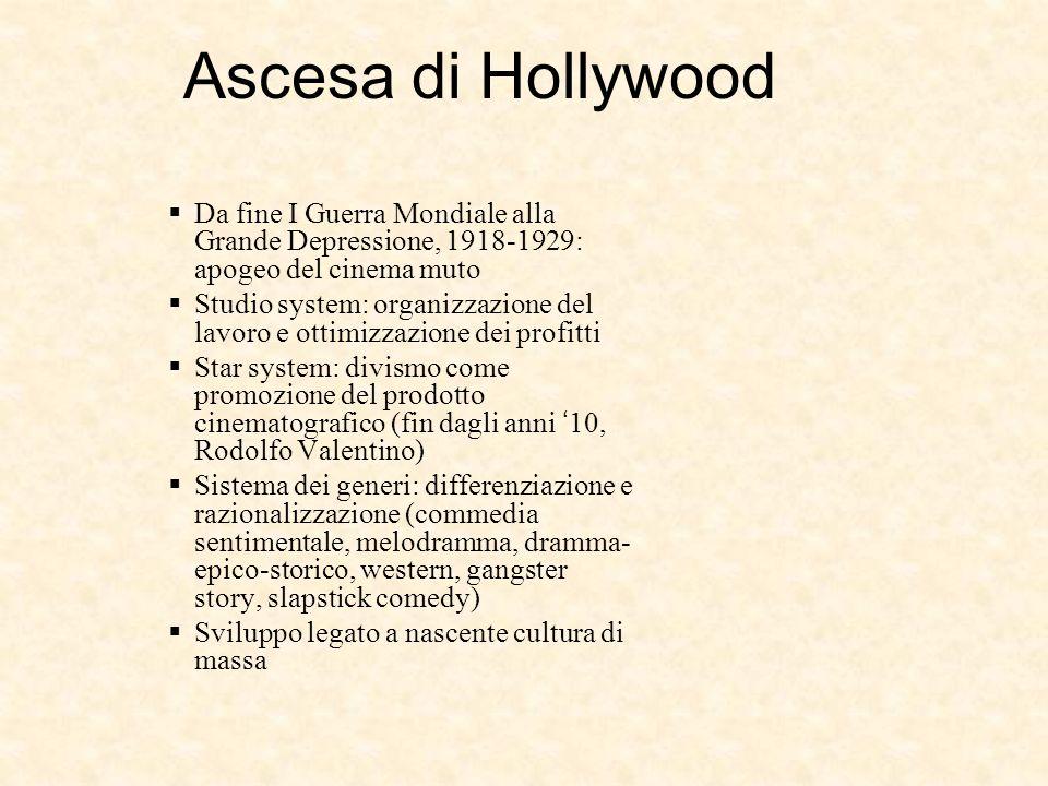 Ascesa di Hollywood Da fine I Guerra Mondiale alla Grande Depressione, 1918-1929: apogeo del cinema muto Studio system: organizzazione del lavoro e ot