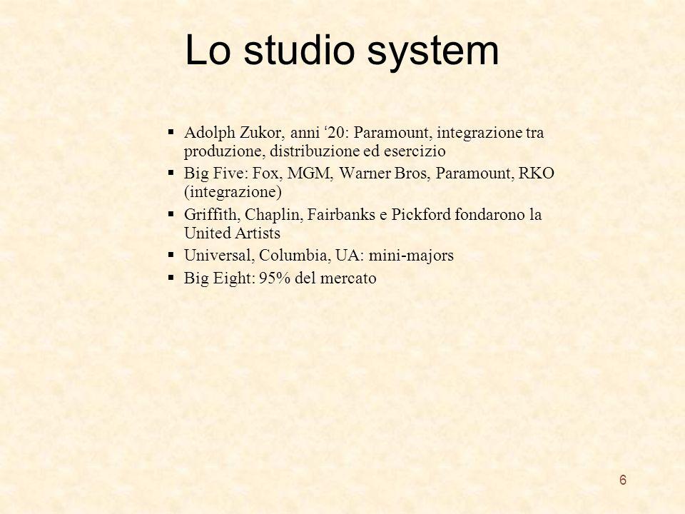 Lo studio system Adolph Zukor, anni 20: Paramount, integrazione tra produzione, distribuzione ed esercizio Big Five: Fox, MGM, Warner Bros, Paramount, RKO (integrazione) Griffith, Chaplin, Fairbanks e Pickford fondarono la United Artists Universal, Columbia, UA: mini-majors Big Eight: 95% del mercato 6