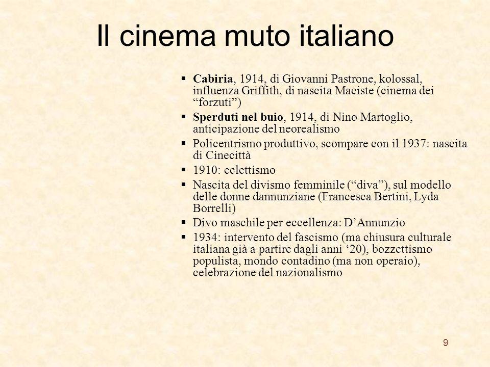 Il cinema muto italiano Cabiria, 1914, di Giovanni Pastrone, kolossal, influenza Griffith, di nascita Maciste (cinema dei forzuti) Sperduti nel buio,