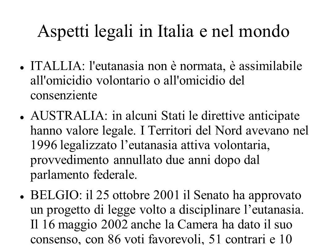 Aspetti legali in Italia e nel mondo ITALLIA: l'eutanasia non è normata, è assimilabile all'omicidio volontario o all'omicidio del consenziente AUSTRA